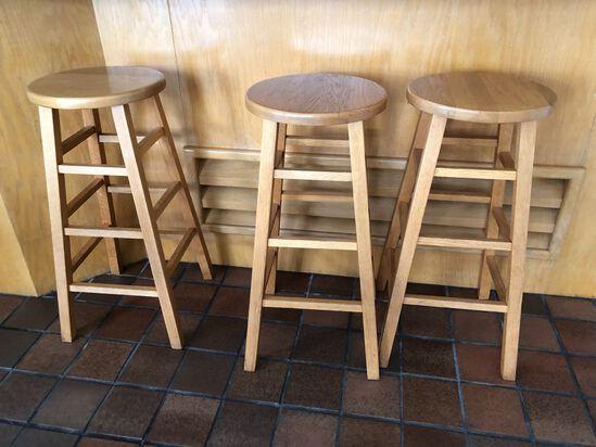 (3) Hardwood Stools