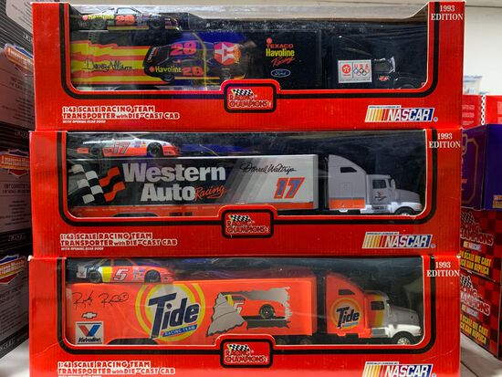 (6) Racing Champions 1:43 Scale Racing Team Transporter Diecast Stock Cars