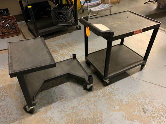 (2) Rolling Poly Utility Carts