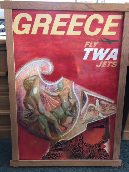 "Vintage TWA ""Greece / Fly TWA Jets"" Travel Poster"