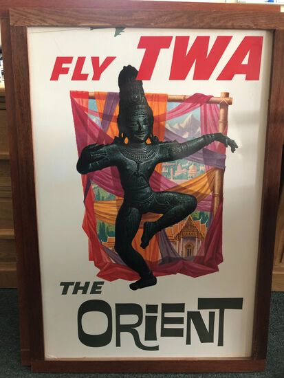 "Vintage TWA ""Fly TWA / The Orient"" Travel Poster"
