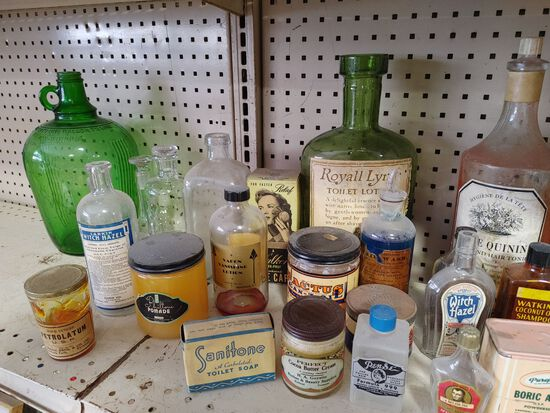 (50+/-) Vintage Barber Shop and Apothecary Advertising Bottles and Tins