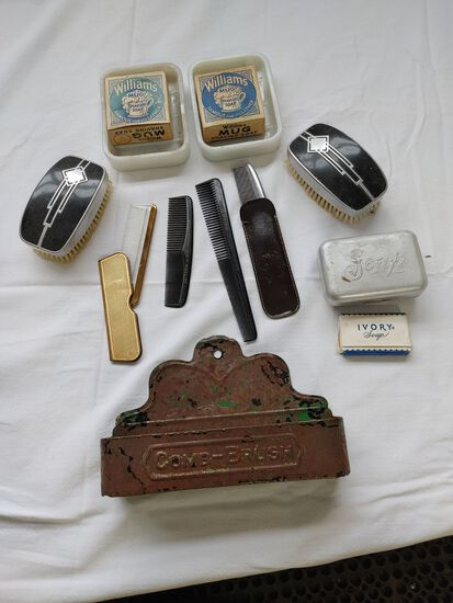 Vintage Hones, Brushes, and Advertising Pieces