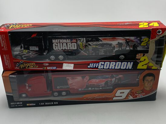 (2) Jeff Gordon #24 & #9 Team Transporter Winners Circle