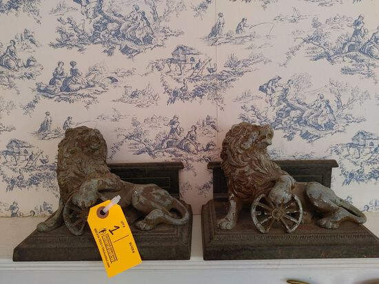 (2) Vintage Cast Metal Lion Bookends