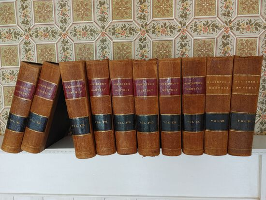 (10) Scribner's Monthly Leather Bound Books