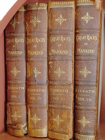 "(4) Leather Bound Antique ""Great Races of Mankind Books"""