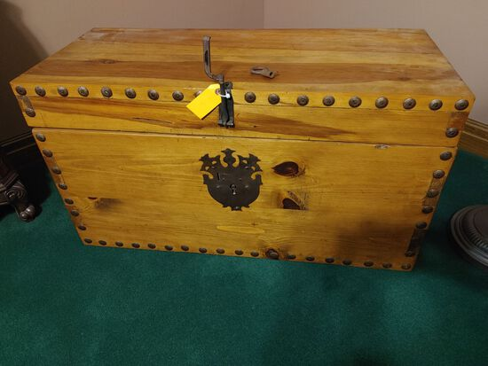 Heavy Pine Chest w/ Wrought Iron Lock