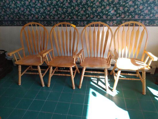 Set of 4 Hard Wood Chairs