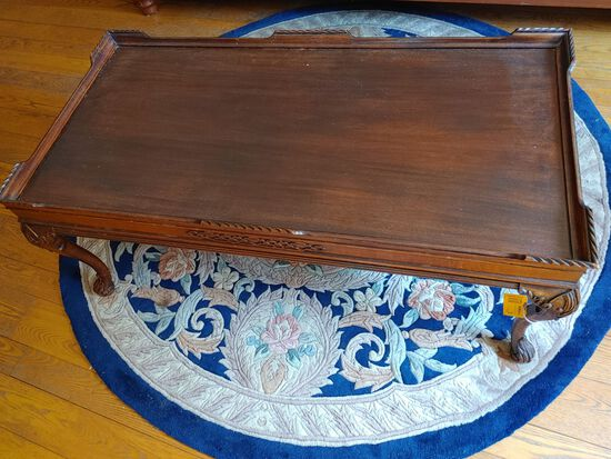 Wood Coffee Table w/ Partial Roped Edge