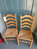 (2) Ladder Back Chairs w/ Rush Seats