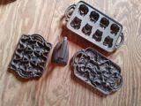 (4) Pieces of Cast Iron Molds & Door Stop