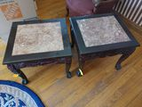Pair of Carved End-Tables with Marble Inlays