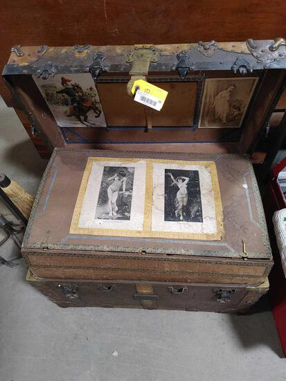 Antique Leather-Bound Steamer Trunk