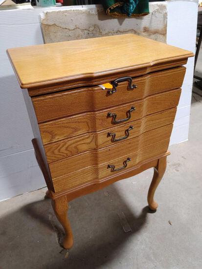 Oak 3-Drawer Silverware Cabinet