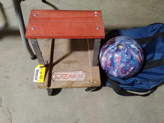 Zoom Bowling Ball & Mechanics Stool