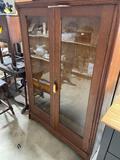 Antique Pine 2-Door China Cabinet