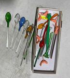 (16) Vintage Glass Swizzle Sticks & Spoons
