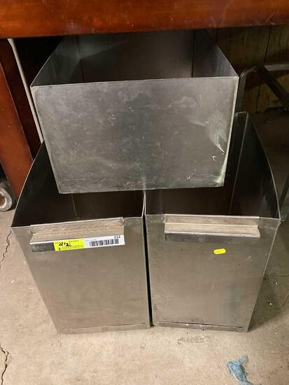 (3) Stainless Steel Receptacles
