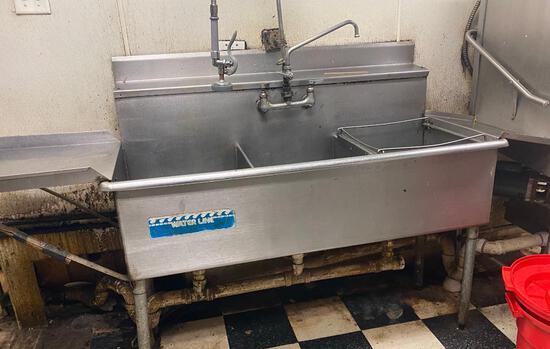 """60"""" 3-Bay Pot Sink w/ Left Drain Board"""