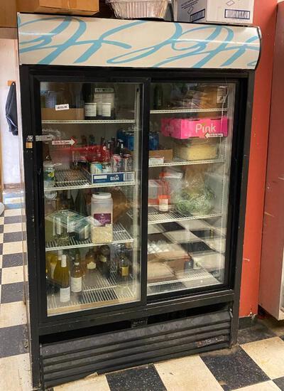 True Double-Sliding-Door Merchandising Refrigerator
