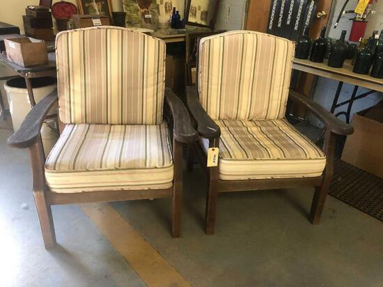 Pair Deck Chairs with Cushions