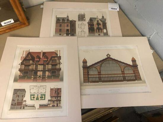 Group of (3) Architectural 19th C Prints