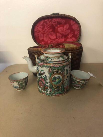 Rose Medallion Tea Set in Wicker Carrier