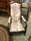 Victorian Walnut Upholstered Rocker