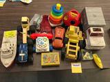Table Lot of 70s Toys, Trucks, Cars, Phone etc
