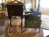 Painted Magazine Rack and Flip Top Sewing Stand