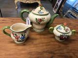 3-Piece Hand Painted Italian Pottery Tea Set
