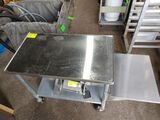 Rolling SS Prep Table w/ Attached Equipment Shelf