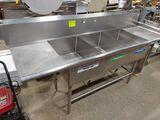 SS 3-Bay Pot Sink w/ Drainboards