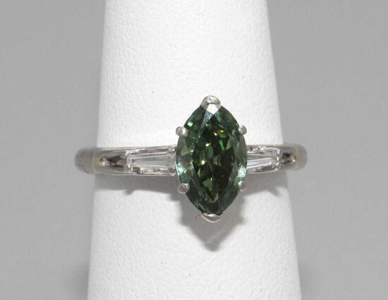 1 Carat Marquise Cut Green Diamond Ring