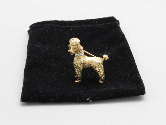 14K Yellow Gold Poodle Brooch