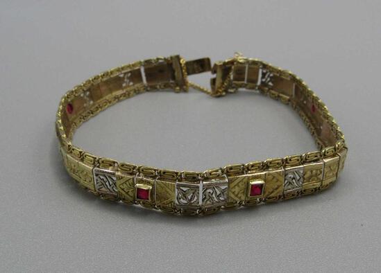 18K Yellow Gold & Ruby Bracelet
