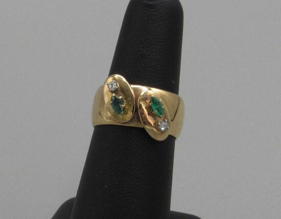 18K Yellow Gold Ring with Diamonds & Emeralds