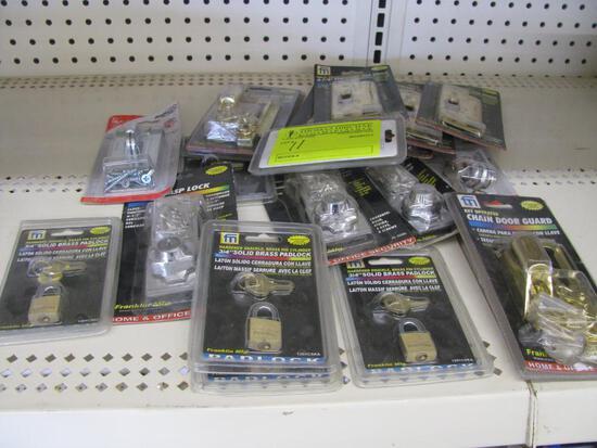 (18+/-) Brass Padlocks, Strike Plates & Hasp Locks