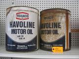 (2) Collectible Texaco Havoline 5 Gallon Cans