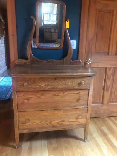 Antique Mirror Back Dresser