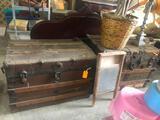 (2) Antique Steamer Trunk & Contents