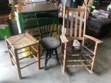 Porch Rocker, Piano Stool & Cane Seat Stool