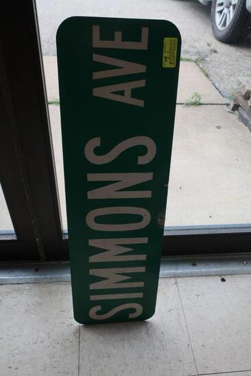 "Aluminum ""Simmons Ave"" Street Sign"