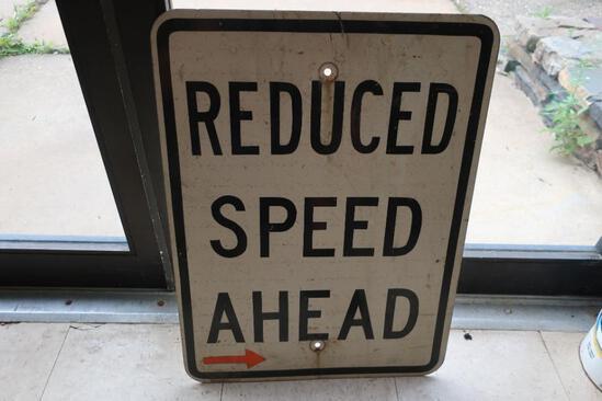"Aluminum ""Reduced Speed Ahead"" Street Sign"