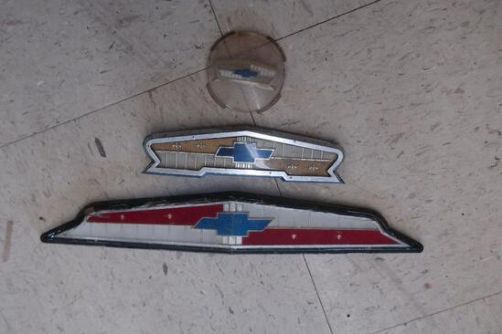(3) Vintage Chevrolet Hood & Steering Wheel Ornaments