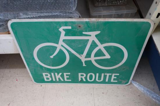 """Aluminum """"Bike Route"""" Sign"""
