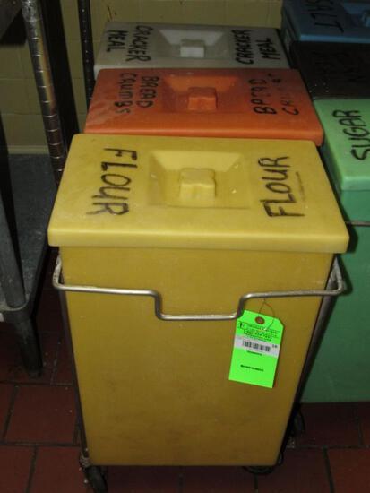 (3) Poly Dry Ingredients Bins w/ Rolling Cart