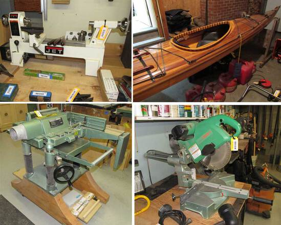 (1342) Woodworking Machinery, Cedar Kayak & Househ