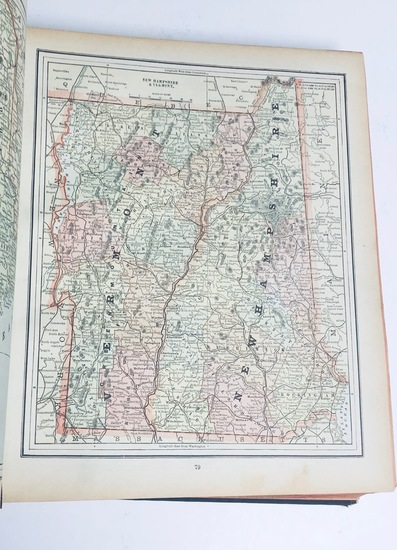 New Popular Family ATLAS of the World (1894) with MANY COLOR STATE MAPS